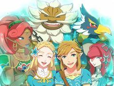 Revali, Mipha, Daruk, Urbosa, Zelda et Link-The Legend of Zelda