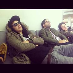 Jordan Eckes, Cameron Hurley and Rob Chianelli asleep in the airport bc they missed their flight awww