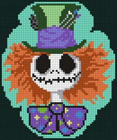 Mad Hatter Jack Skellington (Square Grid Pattern) - Perler Bead Pattern by Melissa Pious