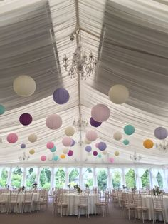 40 soft pink, cream, lavender, teal, yellow, purple paper lanterns