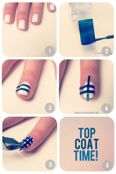 1.Start by painting the nails white.  2.paint blue, pink, green or whatever color you love on a piece of tape. Wait for it to dry and cut it into thin strips. You'll need 6-10 strips per finger.  3.Lay 3-5 strips horizontally on the nail.  4.Then lay the other 3-5 strips vertically.  5.Trim the excess with cuticle nippers. 6.Apply a quick drying top coat to seal your gingham pattern.