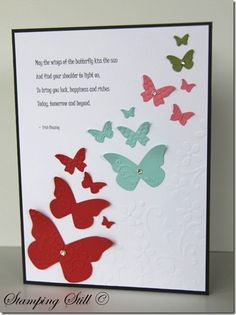 Awesome card! Uses Beautiful Wings embosslit & Elegant Bouquet embossing folder by Stampin' Up!