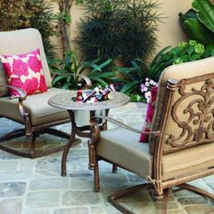 Darlee Santa Barbara 2-person Cast Aluminum Deep Seating Patio Conversation Set With Ice Bucket Insert - Antique Bronze by Darlee. $863.85. antique bronze finish. Cast aluminum construction is naturally rust resistant. Lightweight aluminum frame makes rearranging your furniture easy. Set Includes: 2 Swivel Rocker Dining Chairs, End Table, Sesame-Colored Polyester Cushions. Antique bronze powder coating is tougher than conventional paint finishes. Darlee Santa Barbar...