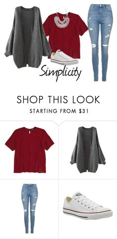 """Simplicity"" by mel2016 ❤ liked on Polyvore featuring Topshop and Converse"