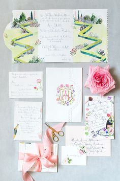 Happy Menocal created our wedding suite. Meeting with her in her adorable Brooklyn studio and having her bring my vision to life was such an incredible process. I love the way that she designed the zigzagging green garden of Philbrook Museum.