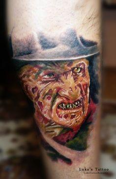 Freddy Krueger tattoo www.facebook.com/LukaTattooRomania Freddy Krueger, Facebook, Portrait, Tattoos, Tatuajes, Men Portrait, Tattoo, Portrait Illustration, Japanese Tattoos