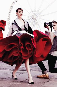 Anais Pouliot | Vogue Russia, April 2011 skirt looks like a rose