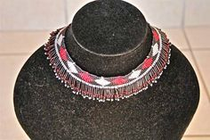African Zulu Beaded Necklace -  Red white and black with silver accents by Hadeda on Etsy