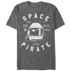 Lost Gods Space Pirate Astronaut Mens Graphic T Shirt, Men's, Size: Large, Black