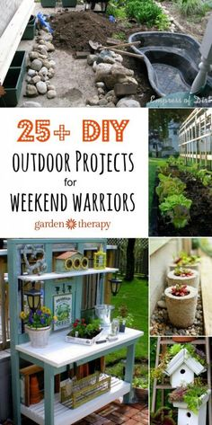 25 + Outdoor Projects for Weekend Warriors So much stuff I want to make: a garden pond, a fountain, stepping stones, awesome trellis, chair planter, concrete planters, pallet planters, green roof bird house and much much more!!