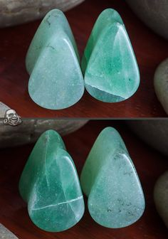 green aventurine teardrop plugs <3