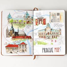 Prague travelbook. The map Карта прогулок по Праге. Компания собралась…
