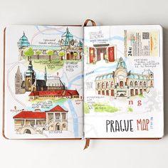Prague travelbook. The map Карта прогулок по Праге. Компания собралась…