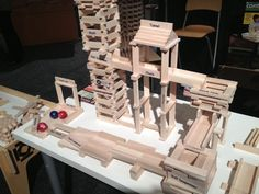There were lots of marble runs at Toy Fair, but I loved the contraption set by Keva Planks. Its open-ended building promotes exploration of physics. Marble Runs, Marble Machine, Plank Challenge, Learning Through Play, Automata, Play To Learn, Wood Ideas, Science Education, Maze