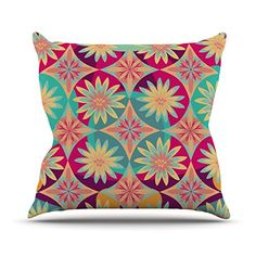 KESS InHouse MM1037AOP03 18 x 18-Inch 'Nika Martinez Happy Flowers Floral Abstract' Outdoor Throw Cushion - Multi-Colour