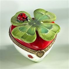 Limoges Good Luck Heart with Ladybug and 4 Leaf Clover Box The Cottage Shop