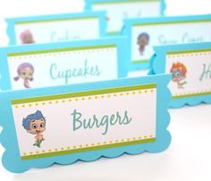 Bubble Guppies Birthday Party Food Table Tent Cards by farmerbaby
