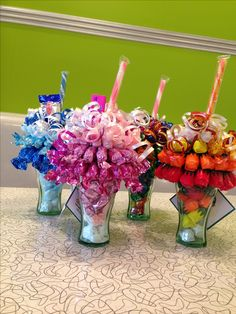 Mini candy bouquet/sundaes.  ~Sweet Ideas