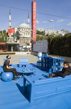 """The Urban Living Room is a social meeting place that we designed to demonstrate who the public space of the city belongs to: the people."" - Eddy Kaijser #Placemaking #LQC #KitOfParts Find more information at: http://urbanlivingroom.org/URBAN_LIVING_ROOM/ABOUT.html"