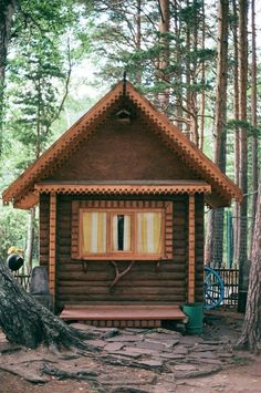 Wes Anderson-esque log cabin in the woods