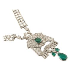 Cartier and Mauboussin Art Deco Pearl Emerald Diamond Sautoir | From a unique collection of vintage more necklaces at https://www.1stdibs.com/jewelry/necklaces/more-necklaces/