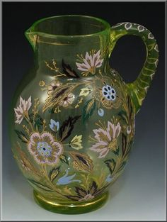 C Vaseline Glass Pitcher w Enamel Flowers Raised Gold Possibly Moser Glass Vessel, Glass Art, Glass Pitchers, Water Pitchers, Water Into Wine, Vaseline Glass, Carnival Glass, Glass Collection, Antique Glass