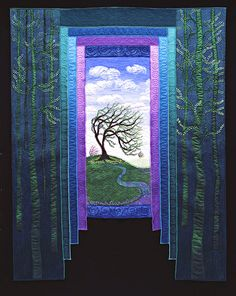 """Dancing with the Wind"" by Dottie Moore. ""As creative women living in our second fifty years, we know what is required to walk through dark forests, where  trust is our only guide. Because we have courageously chosen to live our lives by seeing the endless choices and possibilities available to us, we have learned to enjoy the dance of change.""  [The border piecing is simple and so effective, and the composition and overall effect is so strong.]"