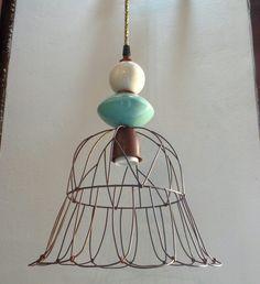 Casa Luminosa Iluminación Colgante  Itamar con cerámica y cable textil alambre oxido www.casaluminosa.com.ar
