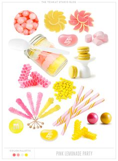 Sweet Selections from the TomKat Studio. Pink Lemonade Party Sweets www. Yellow Candy, Pink Yellow, Pink Lemonade Party, Naked Cakes, Yellow Birthday, Party Sweets, Brunch, Party Gifts, Diy Party