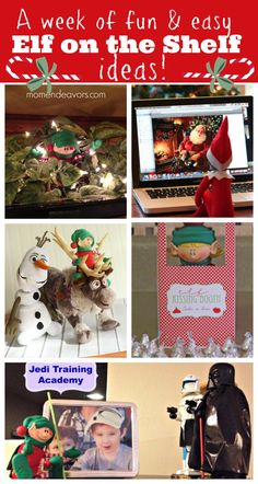 A week's worth of easy & fun Elf on the Shelf ideas (plus an #elfontheshelf link party) via momendeavors.com