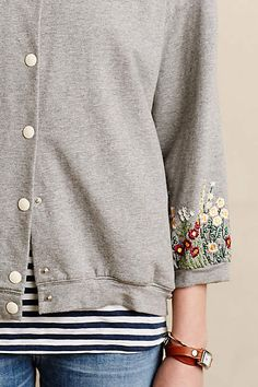 Embroidered Sweatshirt Jacket