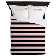 A chic and cuddly black and pink striped duvet cover adds a touch of bold glamour to your bedroom.  - New Luxe Fabric: Heavy-weight 100% woven