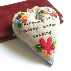 Embroidered Heart: steams of mercy by happydreamer on Etsy