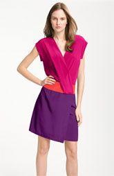 Donna Morgan Colorblock Cap Sleeve Silk Crêpe de Chine Dress