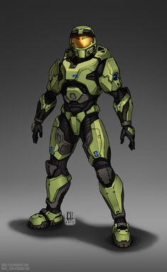"""It's a weird feeling, knowing that Halo 3 came out ten years ago. While I consider the MkVI to be the """"face"""" of the Master Chief, Halo CE's MkV wil. Master Chief And Cortana, Halo Master Chief, Halo Reach, Robot Concept Art, Armor Concept, Character Concept, Character Art, Character Design, Cyberpunk"""