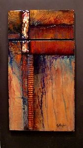 "Carol Nelson - ""IN THE GROOVE"" - Mixed Media on Panel - 19 x 10.5 Two part painting; Copper is one of the textural elements.  Finished with a crystal clear coat of epoxy resin to protect and enhance the deep colors. Mounted on black panel."
