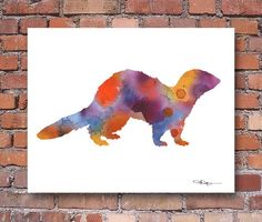 Ferret Art Print  Abstract Watercolor Painting  by 1GalleryAbove