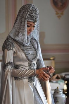 traditional circassian bridal dress.  #caucasus #circassian #adiga
