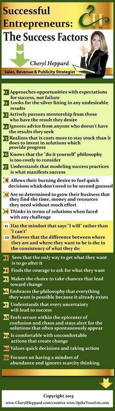 Successful Entrepreneurs- The Success Factors infographic