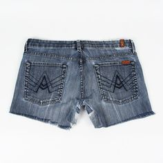 "$165 SEVEN 7 FOR ALL MANKIND blue DESTROYED CUTOFF FRAYED ""A"" PKT jean shorts 31 $19.99"
