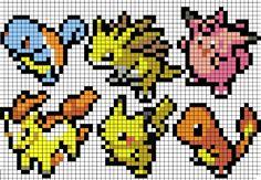 Various Pokemon, easy cross stitch pattern!