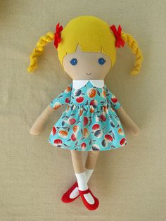 Fabric Doll Rag Doll Blond Haired Girl with Braids by rovingovine...idea...