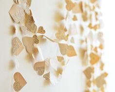Paper Heart Garland from Vintage Book rehersal by CoutureByAyca