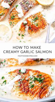 Creamy garlic salmon is a great dinner recipe that is ready in less than 20 minutes Fresh and tasty with some added lemon Visit for the full recipe fastfoodbistro creamygarlicsalmon dinnerrecipe salmon garlicsalmon Sauce For Salmon, Butter Salmon, Salmon With Cream Sauce, Healthy Salmon Recipes, Healthy Dinner Recipes, Cooking Recipes, Salmon Pasta Recipes, Seafood Dishes, Seafood Recipes