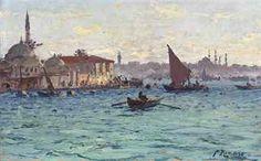 Fausto Zonaro, Banks of the Bosphorus, Pontile di Scutari, Istanbul