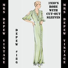 Vintage Sewing Pattern 1930's French Robe Pegnoir with Cutouts in Any Size- PLUS Size Included- Depew 186 -INSTANT DOWNLOAD- by Mrsdepew on Etsy https://www.etsy.com/listing/105400458/vintage-sewing-pattern-1930s-french-robe