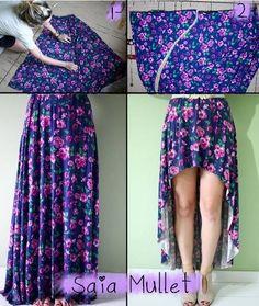 Transforme sua saia longa em uma saia mullet