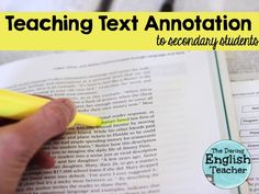 How to teach annotating text to middle and high school students.