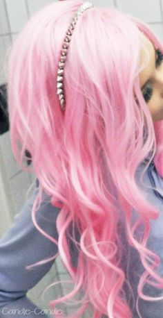 I like how this ombrè is all pink but it's a cotton candy pink at the top and fades to a hotter pink at the bottom. I still don't know if I've worked up the courage to dye it all bright. - Click image to find more hair posts