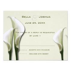 White Calla Lillies RSVP Personalized Invite  #timelesstreasure